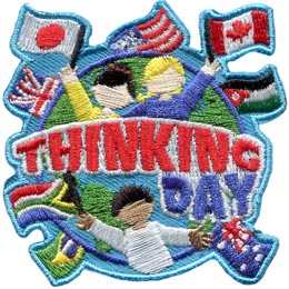 Kids, Flags, Think, Thinking Day, Feb. 22, February 22, Baden-Powell, World, Globe, Friend, Patch, Embroidered Patch, Merit Badge, Badge, Emblem, Iron On, Iron-On, Crest, Girl Scouts, Boy Scouts, Girl