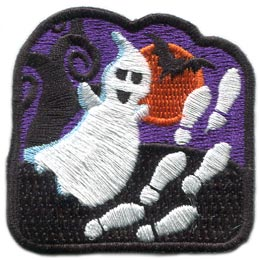 Ghost, Walk, Foot, Prints, Moon, Bat, Tree, Halloween,Patch, Embroidered Patch, Merit Badge, Badge, Emblem, Iron On, Iron-On, Crest, Lapel Pin, Insignia, Girl Scouts, Boy Scouts, Girl Guides
