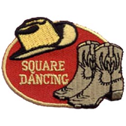 This red oval is decorated with a cowboy hat and boots. The words ''Square Dancing'' are embroidered in gold.