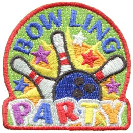 Bowling, Party, Bowl, Pin, 5 Pin, 10 Pin, Patch, Embroidered Patch, Merit Badge, Badge, Emblem, Iron On, Iron-On, Crest, Lapel Pin, Insignia, Girl Scouts, Boy Scouts, Girl Guides