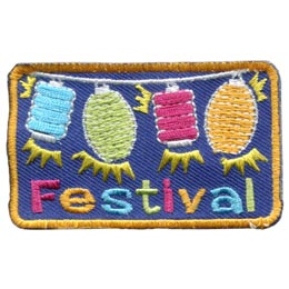 Festival, Lanterns, Lights, Balloons, Party, Celebration, Patch, Embroidered Patch, Merit Badge, Badge, Emblem, Iron On, Iron-On, Crest, Lapel Pin, Insignia, Girl Scouts, Boy Scouts, Girl Guides