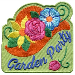 A vibrant orange sun hat is decorated with colourful flowers. From left to right these flowers are: a yellow daisy, a pink rose, and a blue forget-me-not. The words 'Garden Party' are embroidered in script near the bottom and a single rose lays underneath the text. The background of the patch is a pea green.