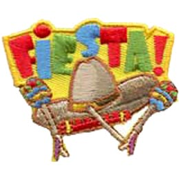 Fiesta, Mexico, Sombrero, Patch, Embroidered Patch, Merit Badge, Crest, Girl Scouts, Boy Scouts, Girl Guides