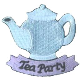 Tea, Party, Pot, Cup, Dinner, Patch, Embroidered Patch, Merit Badge, Badge, Emblem, Iron On, Iron-On, Crest, Lapel Pin, Insignia, Girl Scouts, Boy Scouts, Girl Guides
