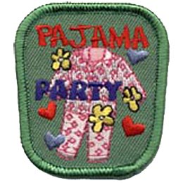 A full set of white pajamas with pink flowers stand upright in this patch. Flowers and hearts are strewn about and the words ''Pajama Party'' are embroidered on it.