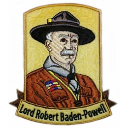 Lord Robert Baden-Powell, Baden, Lord, Robert, Powell, Felt, Patch, Embroidered Patch, Merit Badge, Badge, Emblem, Iron On, Iron-On, Crest, Lapel Pin, Insignia, Girl Scouts, Boy Scouts, Girl Guides