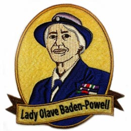 Lady Olave Baden-Powell, Lady, Olave, Baden, Powell, Felt, Patch, Embroidered Patch, Merit Badge, Badge, Emblem, Iron On, Iron-On, Crest, Lapel Pin, Insignia, Girl Scouts, Boy Scouts, Girl Guides