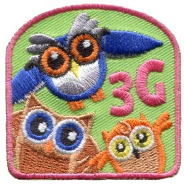 Owls, Third, 3rd, Generation, Branch, Leaf, Mother, Grandmother, Daughter, Patch, Embroidered Patch, Merit Badge, Badge, Emblem, Iron On, Iron-On, Crest, Lapel Pin, Insignia, Girl Scouts, Boy Scouts,