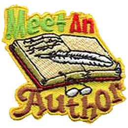 Meet An Author, Book, Pen, Quill, Glasses, Read, Page, Girl, Boy, Patch, Merit Badge, Crest, Guides, Scouts