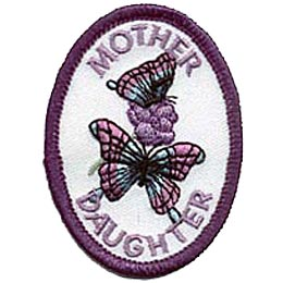 A butterfly rests on some lilacs as another flutters around in this beautiful oval patch. The word ''Mother'' is embroidered at the top and ''Daughter'' at the bottom of the crest.