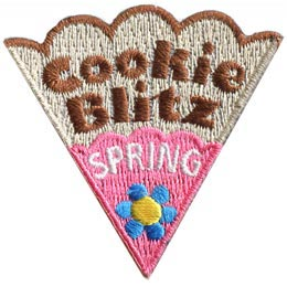 Cookie, Blitz, Spring, Flower, Patch, Embroidered Patch, Merit Badge, Badge, Emblem, Iron On, Iron-On, Crest, Lapel Pin, Insignia, Girl Scouts, Boy Scouts, Girl Guides