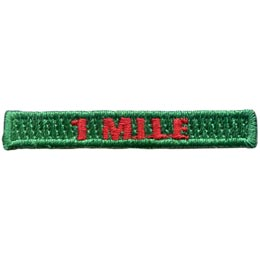 This rectangular patch says, '1 Mile' to commemorate 1 mile hiked.