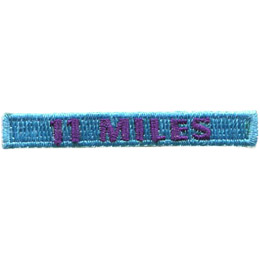 This rectangular patch says, '11 Miles' to commemorate eleven miles hiked.