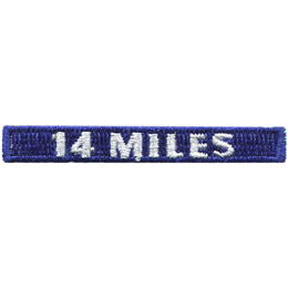 This rectangular patch says, '14 Miles' to commemorate 14 miles hiked.