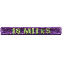 This rectangular patch says, '18 Miles' to commemorate 18 miles hiked.