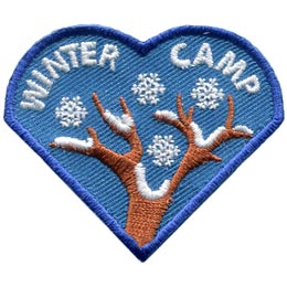 The top heart of the I Love Camping Set has four snowflakes descending from the sky and landing on snow covered tree branches. The words 'Winter Camp' are embroidered on the patch.