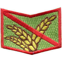 Allergy, Wheat, Grain, Gluten, Celiac, Patch, Embroidered Patch, Merit Badge, Badge, Emblem, Iron On, Iron-On, Crest, Lapel Pin, Insignia, Girl Scouts, Boy Scouts, Girl Guides