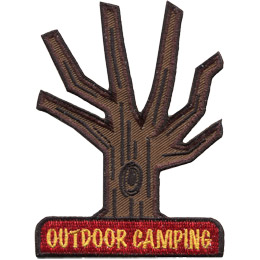 This multi-branched tree trunk is the base for the outdoor camping set. The trunk displays a knot in the front center of the trunk and the words 'Outdoor Camping' at the base of the tree.