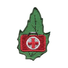 This leaf shaped patch displays a red briefcase with a white circle overlaid with a red cross on it.