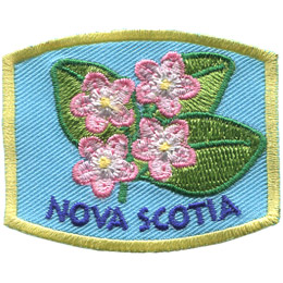 This patch displays Nova Scotia's provincial flower: the mayflower.
